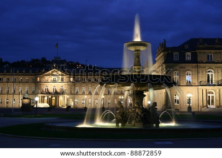Stuttgart / Germany: Fountain and the illuminated castle