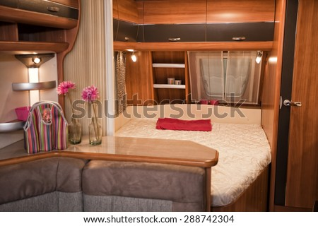 Stuttgart, Germany, 17 January 2015: Bathroom interior of mobile home, caravanning, motoring and tourism trade.