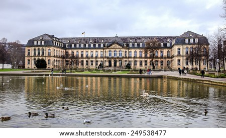 STUTTGART, GERMANY - JANUARY 25 2015: City of Stuttgart. New Palace. 19th century architecture. Picturesque Winter Atmosphere