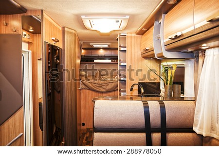Stuttgart, Germany, 17 January 2015: Interior of luxury motorhome, caravanning, motoring and tourism trade.