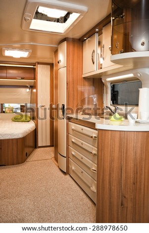Stuttgart, Germany, 17 January 2015: Interior of modern camper, caravanning, motoring and tourism trade.