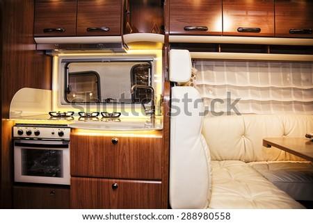 Stuttgart, Germany, 17 January 2015: RV kitchen, caravanning, motoring and tourism trade. - stock photo