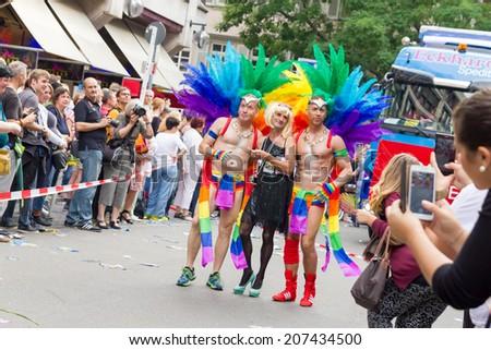 STUTTGART, GERMANY - JULY 26, 2014: Christopher Street Day in Stuttgart, Germany - stock photo
