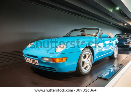 "STUTTGART, GERMANY - JULY 16, 2015: Interior and exhibits of ""Porsche Museum"" (Porsche 968 Cabriolet)"