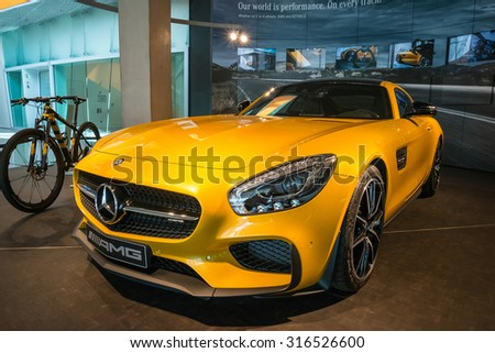 "STUTTGART, GERMANY - JULY 16, 2015: Interior of museum ""Mercedes-Benz Welt"".The museum covers the history of the Mercedes-Benz and the brands associated."