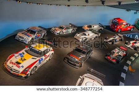 """STUTTGART, GERMANY - JULY 16, 2015: Interior of museum """"Mercedes-Benz Welt"""".The museum covers the history of the Mercedes-Benz and the brands associated. - stock photo"""