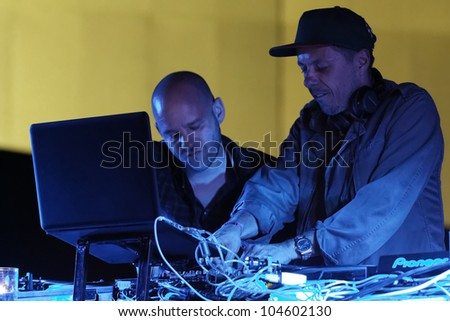 "STUTTGART, GERMANY - JUNE 2: Musician - Band Turntablerocker,  Michael Beck and Thomas Burchia, live at the festival ""Intel Ultrabook 3D Tour "" June 2, 2012 in Stuttgart-Mercedes Benz Museum, Germany - stock photo"