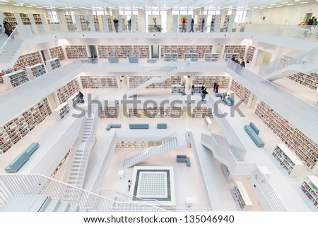 STUTTGART, GERMANY - MAR 23, 2013: Interior of new public library in  Stuttgart.  The library, opened in October 2011 and designed by Yi Architects, had  2.691.892 visitors  in 2012. March 23, 2013. Stuttgart - stock photo