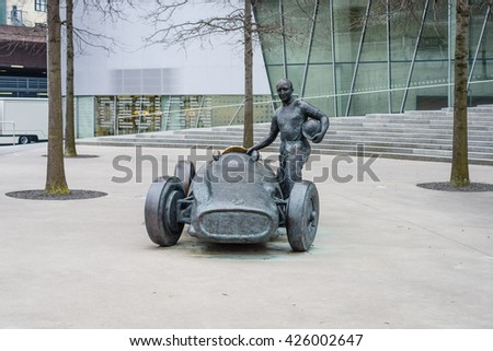 STUTTGART, GERMANY- MARCH 19, 2016: As a tribute to five-time world champion in Formula One racing - Juan Manuel Fangio. The sculptor Joaquim Ros Sabate.