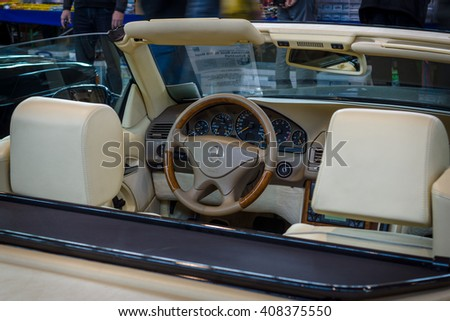 "STUTTGART, GERMANY - MARCH 18, 2016: Cabin of grand tourer car Mercedes-Benz SL 500 (R129), 1999. Europe's greatest classic car exhibition ""RETRO CLASSICS"""