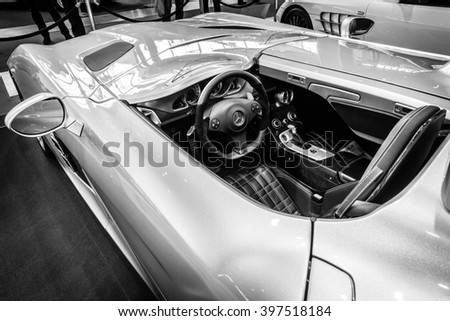 "STUTTGART, GERMANY- MARCH 17, 2016: Cabin of grand tourer car Mercedes-Benz SLR Stirling Moss (limited edition, 75 vehicles), 2009. Europe's greatest classic car exhibition ""RETRO CLASSICS"" - stock photo"