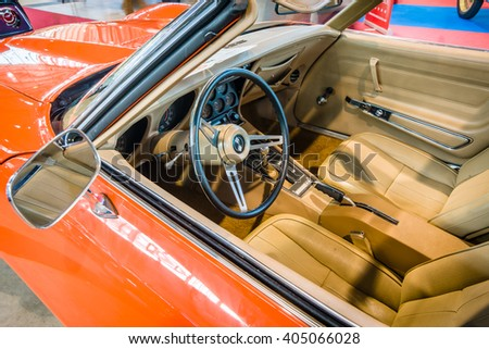 "STUTTGART, GERMANY - MARCH 17, 2016: Cabin of sports car Chevrolet Corvette Stingray Coupe (C3), 1975. Europe's greatest classic car exhibition ""RETRO CLASSICS"" - stock photo"