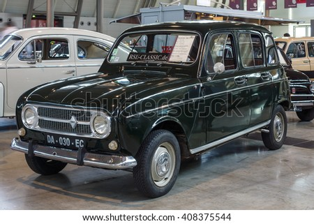 "STUTTGART, GERMANY - MARCH 18, 2016: Economy car Renault R4, 1968. Europe's greatest classic car exhibition ""RETRO CLASSICS"" - stock photo"