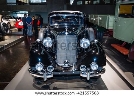 STUTTGART, GERMANY- MARCH 19, 2016: Full-size sedan Mercedes-Benz 260 D Pullman (W138), 1938. Mercedes-Benz Museum. - stock photo