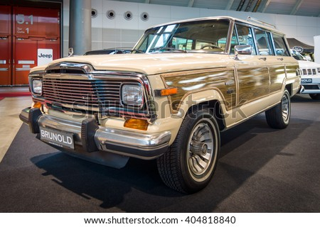 "STUTTGART, GERMANY - MARCH 17, 2016: Full-size SUV Jeep Wagoneer (SJ). Europe's greatest classic car exhibition ""RETRO CLASSICS"" - stock photo"