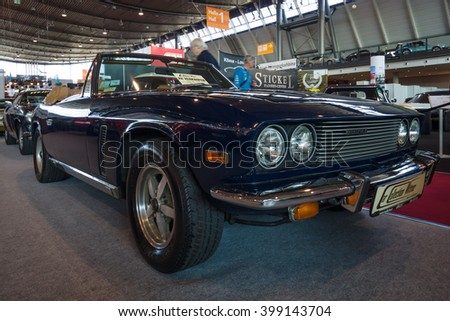 "STUTTGART, GERMANY - MARCH 17, 2016: Grand tourer car Jensen Interceptor MkIII Convertible, 1974. Europe's greatest classic car exhibition ""RETRO CLASSICS"" - stock photo"