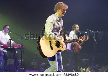 STUTTGART, GERMANY - MARCH 24: Guitarist Dominik Decker of the group Marquess live in concert on stage at the festival March 24, 2012 in Stuttgart, Germany - stock photo
