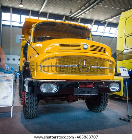 "STUTTGART, GERMANY - MARCH 18, 2016: Heavy truck Mercedes-Benz LAK 2624 6X6 Mulde, 1974. Europe's greatest classic car exhibition ""RETRO CLASSICS"""