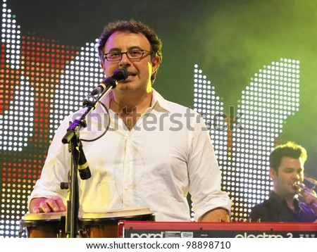 STUTTGART, GERMANY - MARCH 24: Keyboardist Christian Fleps of the group Marquess live in concert on stage at the festival March 24, 2012 in Stuttgart, Germany - stock photo
