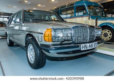 STUTTGART, GERMANY- MARCH 19, 2016: Mid-size luxury Mercedes-Benz 300TD (S123), 1985. Mercedes-Benz Museum. - stock photo