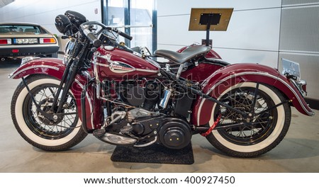 "STUTTGART, GERMANY - MARCH 17, 2016: Motorcycle Harley-Davidson WLA 45 Gespann, 1944 with sidecar Simard Rocketman, 1934. Europe's greatest classic car exhibition ""RETRO CLASSICS"" - stock photo"