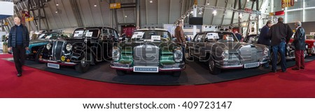 "STUTTGART, GERMANY - MARCH 18, 2016: Panoramic view of the vintage models of Mercedes-Benz cars. Europe's greatest classic car exhibition ""RETRO CLASSICS"""