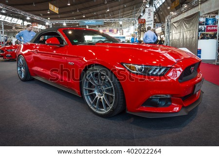 "STUTTGART, GERMANY - MARCH 17, 2016: Pony car Ford Mustang GT convertible (sixth generation), 2015. Europe's greatest classic car exhibition ""RETRO CLASSICS"" - stock photo"