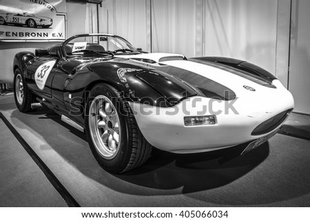 "STUTTGART, GERMANY - MARCH 17, 2016: Racing car Ginetta G33 Limited, 1991. Black and white. Europe's greatest classic car exhibition ""RETRO CLASSICS"" - stock photo"