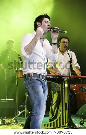 STUTTGART, GERMANY - MARCH 24: Singer Sascha Pierro of the group Marquess live in concert on stage at the festival March 24, 2012 in Stuttgart, Germany