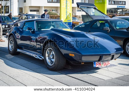 "STUTTGART, GERMANY - MARCH 18, 2016: Sports car Chevrolet Corvette (C3) Estate Eckler, 1973. Europe's greatest classic car exhibition ""RETRO CLASSICS"" - stock photo"