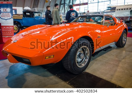 "STUTTGART, GERMANY - MARCH 17, 2016: Sports car Chevrolet Corvette Stingray Coupe (C3), 1975. Europe's greatest classic car exhibition ""RETRO CLASSICS"" - stock photo"