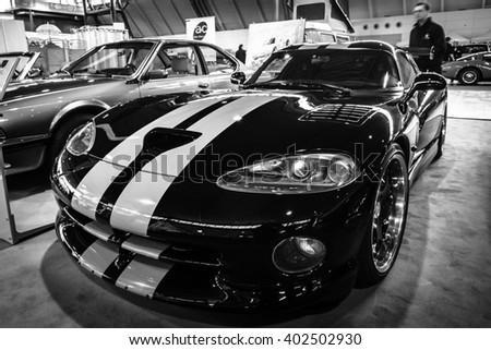 "STUTTGART, GERMANY - MARCH 17, 2016: Sports car Dodge Viper GTS, 1999. Black and white. Europe's greatest classic car exhibition ""RETRO CLASSICS"" - stock photo"