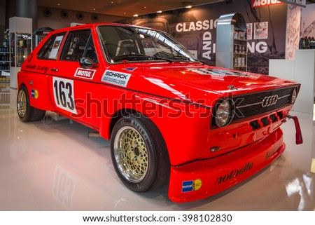 "STUTTGART, GERMANY - MARCH 17, 2016: Supermini economy car Audi 50, 1975. Europe's greatest classic car exhibition ""RETRO CLASSICS"""