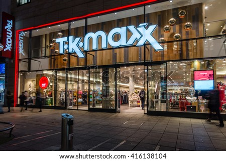 STUTTGART, GERMANY- MARCH 16, 2016: The historic shopping street in the central part of the city - Koenigstrasse (King Street), and a showcase well-known store TK Maxx.