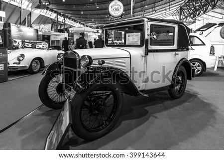 "STUTTGART, GERMANY - MARCH 17, 2016: Vintage car BMW 3/15 PS DA2 (""Dixi""), 1931.Black and white.  Europe's greatest classic car exhibition ""RETRO CLASSICS"""