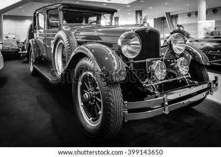 "STUTTGART, GERMANY - MARCH 17, 2016: Vintage car Stutz Vertical Eight Brougham, 1927. Black and white. Europe's greatest classic car exhibition ""RETRO CLASSICS"" - stock photo"