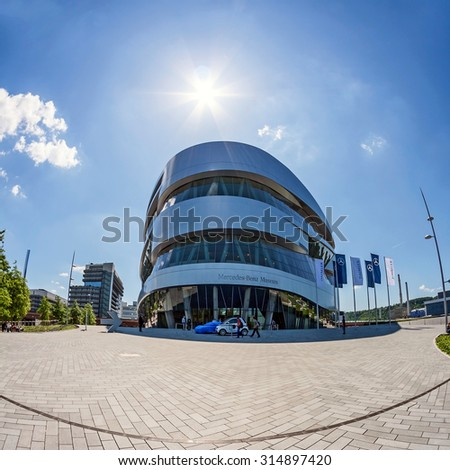 """Stuttgart, Germany - May 19, 2009: Museum """"Mercedes-Benz Welt"""" contains more than 160 vehicles.The Mercedes-Benz Museum is an automobile museum in Stuttgart, Germany. - stock photo"""