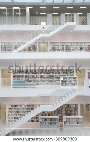 Stuttgart, Germany - May 21, 2015: The Stuttgart Public Library, opened in October 2011, and placed at Mailander Platz, was designed by Yi Architects and has more than 500,000 books.