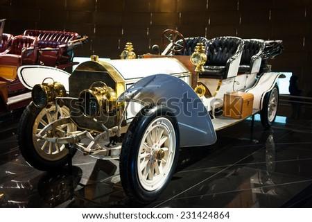 "STUTTGART, GERMANY - NOVEMBER 04, 2011: Interior and exhibits of Museum ""Mercedes-Benz Welt"" - stock photo"