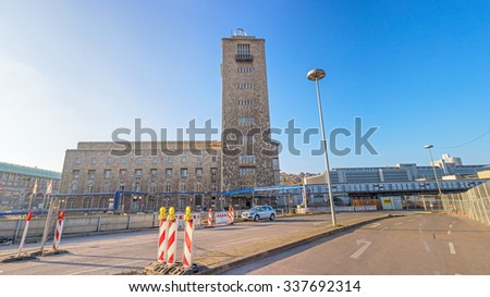 Stuttgart, Germany - November 1, 2013: Panorama of central railway station (Hauptbahnhof) in Stuttgart, Germany near construction site Stuttgart 21. S21 the most controversial railway project ever. - stock photo