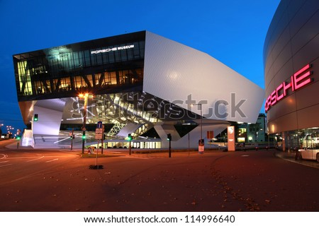 STUTTGART, GERMANY - OCTOBER 3: Porsche Museum and a Porsche dealer on October 3, 2012 in Stuttgart, Germany. Porsche is a German company with investments in the luxury automotive industry.