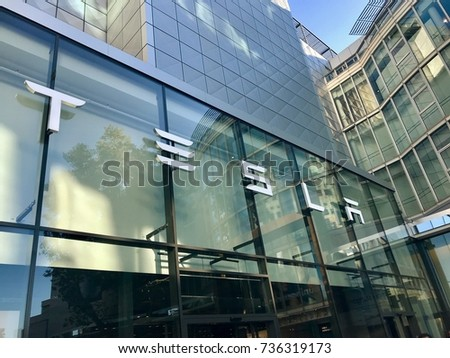 Stuttgart, Germany - October 14, 2017: Tesla Motors logo on the showroom in Stuttgart, Germany