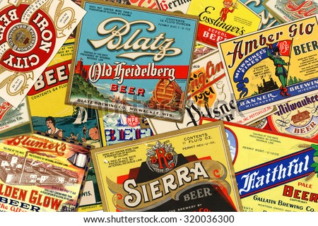 STUTTGART, GERMANY - September 24, 2015: Collection of American vintage beer labels from the 1930s. - stock photo