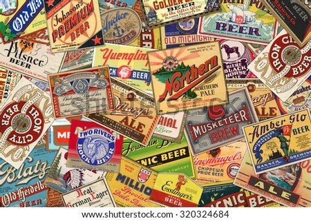 STUTTGART, GERMANY - September 24, 2015: Collection of American vintage beer labels from the 1930s-1950s. - stock photo