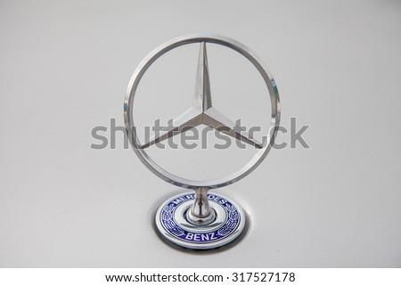 STUTTGART, GERMANY - 11 september, 2015: Mercedes Benz logo. Mercedes-Benz is a German automobile manufacturer, a multinational division of the German manufacturer Daimler AG - stock photo