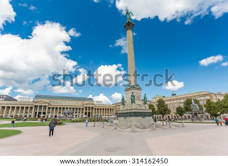STUTTGART, GERMANY - September 5, 2015: Schlossplatz is the largest square in the center of Stuttgart home to the Neues Schloss which was built between 1746 and 1807