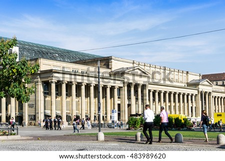 STUTTGART, GERMANY - September 15, 2016: Schlossplatz is the largest square in the center of Stuttgart, GERMANY