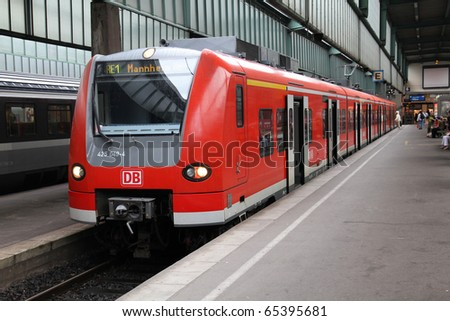 STUTTGART - JULY 24: Deutsche Bahn Regio train class 425 on July 24, 2010 in Stuttgart, Germany. DB took over Arriva Plc company in August 2010. C.425 train was produced by Siemens, Bombardier and DWA