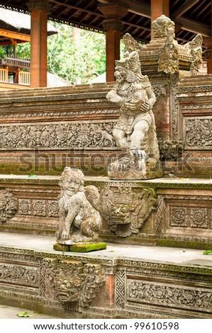 Stutue in Sacred Monkey Forest, Ubud, Bali, Indonesia - stock photo
