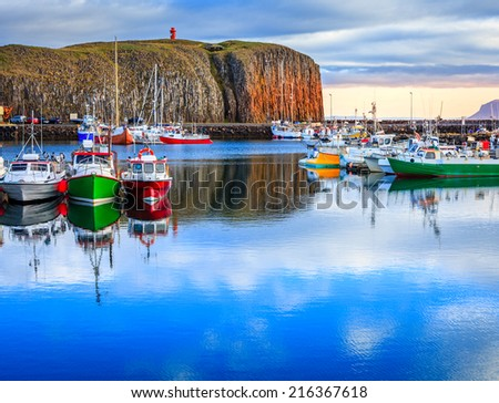 Stykkisholmur's harbor in western Iceland - stock photo